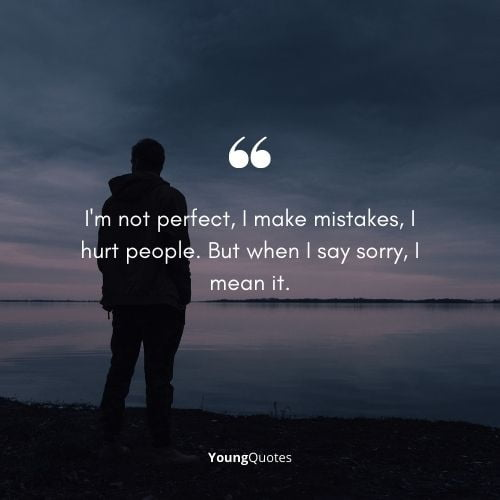 I'm not perfect, I make mistakes, I hurt people. But when I say sorry, I mean it.